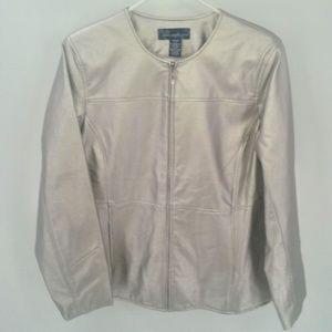 Susan Graver Metallic silver faux leather jacket M